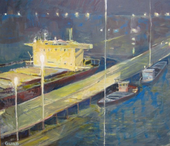 Painting by  Cynthia Guild of ships waiting at the docks