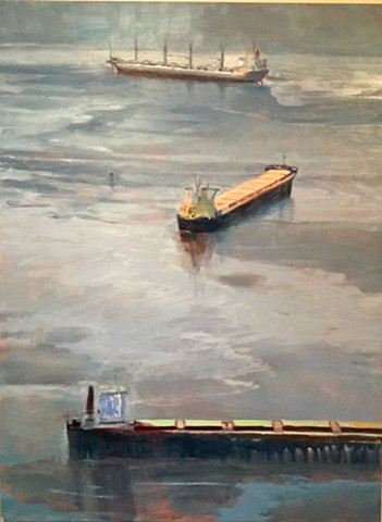 greyer, ship painting, freighter painting, shgips at anchor art,