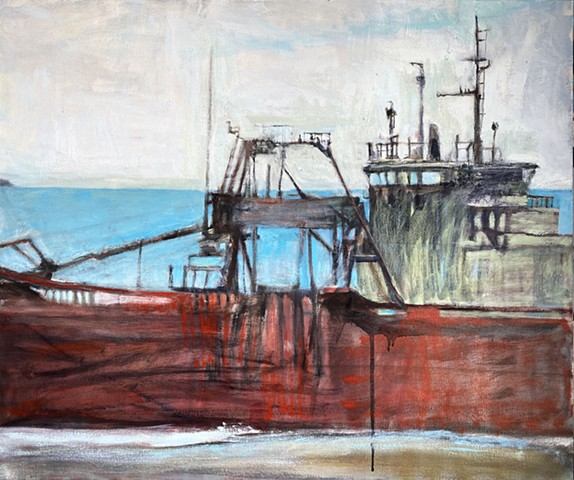working ship, bulk carrier, coastal ships, freighter art