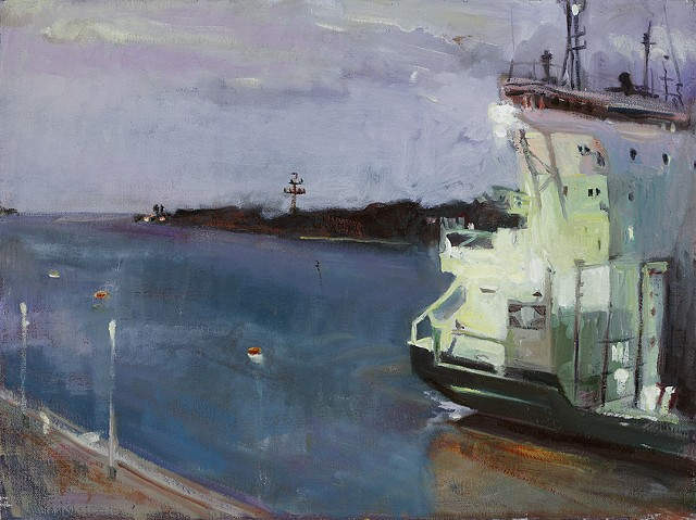 Panama Canal freighter painting, freighter painting