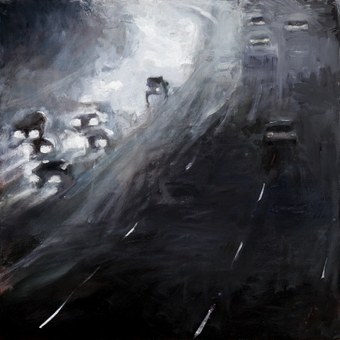 dramatic black and white painting curve in the road