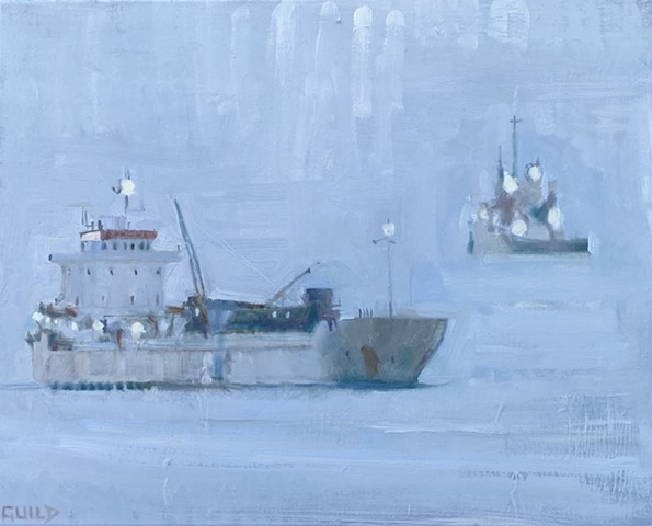freighters at sea, marine art, ship paintings, ship art, atmospheric art