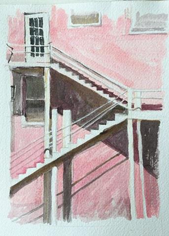 pink bahamas staircase watercolor