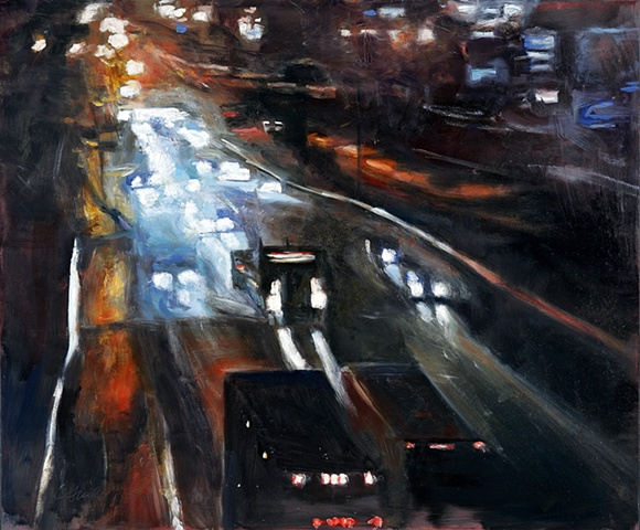 nightime painting of traffic on Interstate 95 Connecticut painting of truck