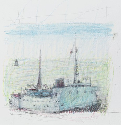 oil pastel drawing of freighter, oil pastel drawing of ship