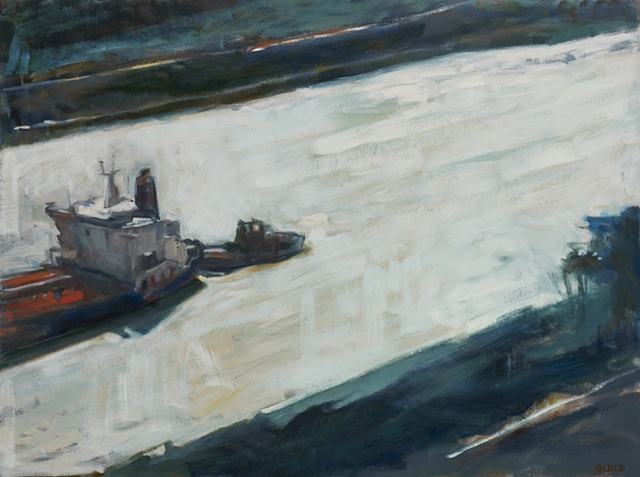freighter in panama canal, oil painting of ship