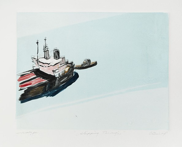 monotype of freighter, monotype of tanker
