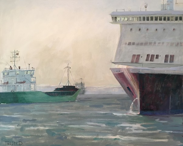 thgree ships, ship paintings, freighters
