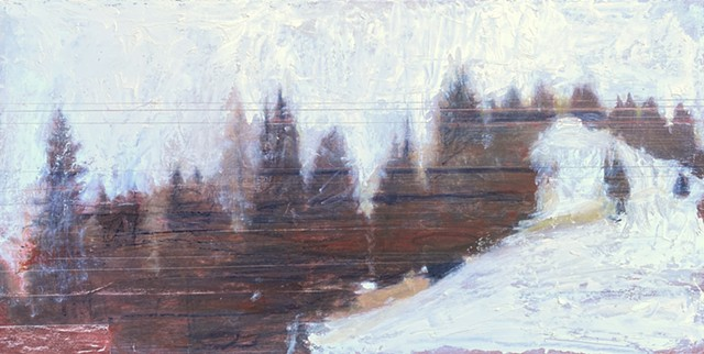 surveillance landscape, mountain painting, ski painting. live feed painting,