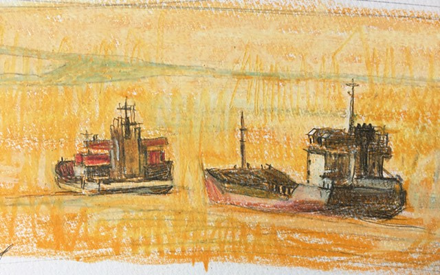drawinf of two ships in an orange sea