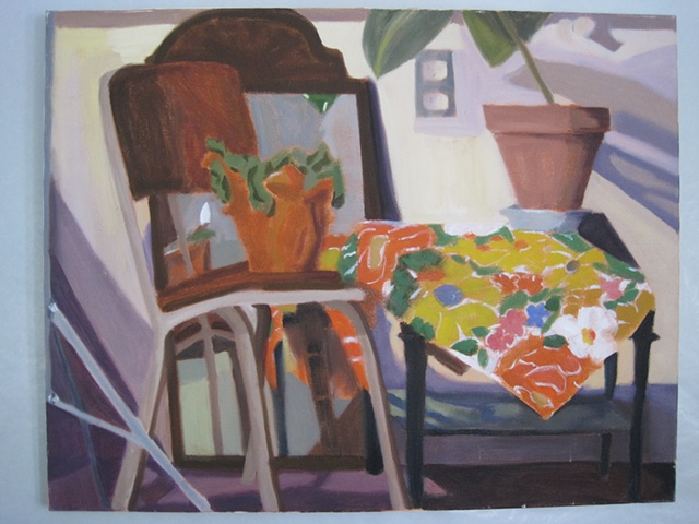 Still life (orange flowered cloth)
