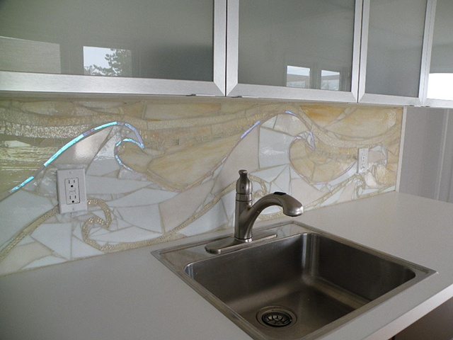 Custom Glass Backsplash in Private Residence