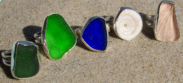 Collection of sea glass and shell rings