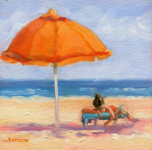 Umbrella, summer, shore, LBI, paintings,