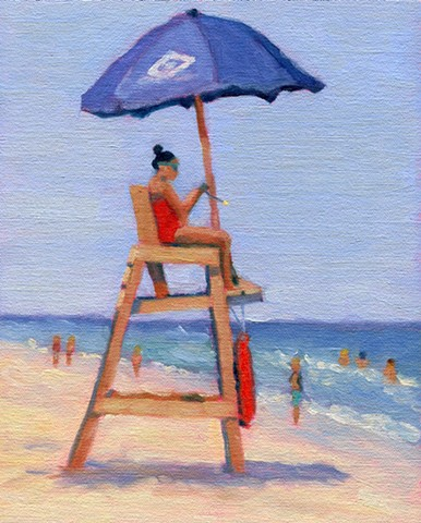 Painting of Surf City Lifeguard by LBI Artist Lori Bonanni