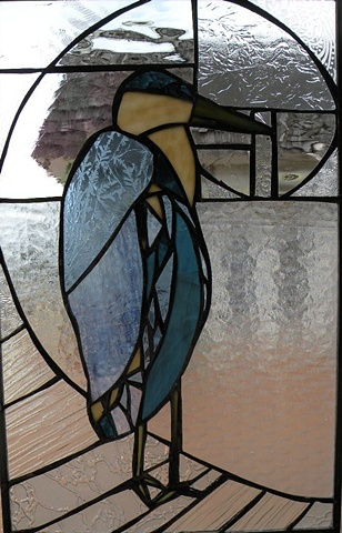 Blue Heron - Custom Stained Glass