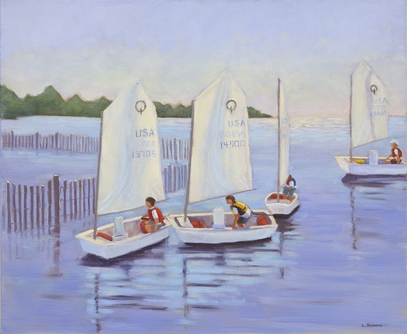 Oil painting of LBI Optimist Dingy sailors by artist Lori Bonanni