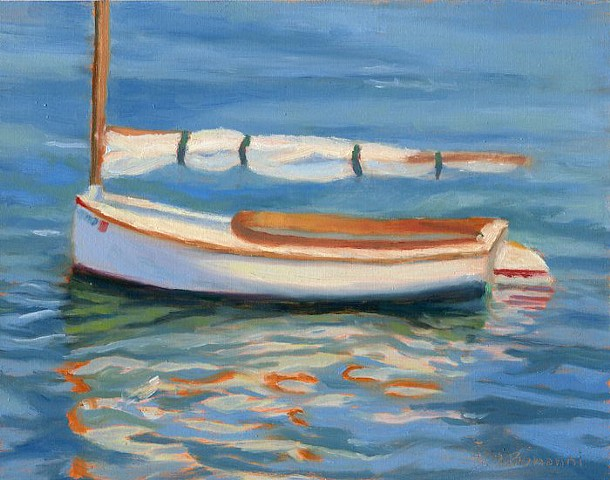 "Oil painting of our Sandpiper Catboat ""Lil Lulu"" on Barnegat Bay by LBI Artist Lori Bonanni"