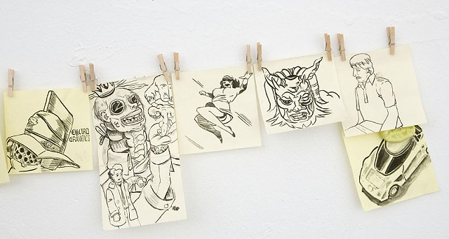 Paperclip operations on paper with ink - drawing art