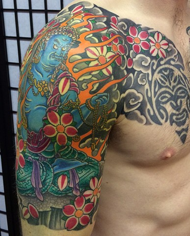 Fudo Myoo half sleeve with Cherry Blossom japanese tattoo irezumi horimono wabori fil wood