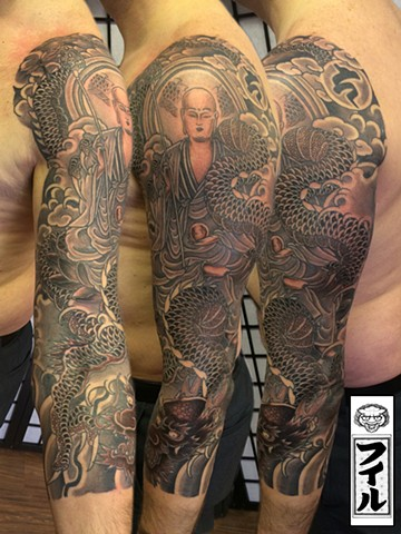 Jizo and Ryu Dragon 3/4 sleeve