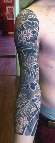 Kintaro and Koi with cherry blossom 3/4 japanese sleeve japanese tattoo irezumi horimono wabori fil wood