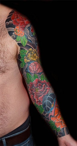 Snake and peony full sleeve cover up japanese tattoo japanese tattoo irezumi horimono wabori fil wood