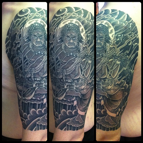 Fudo Myoo half sleeve fully healed japanese tattoo irezumi horimono wabori fil wood