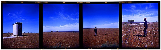 Walk about with Elize, 120mm film strip, Australia, outback, new south whales, white cliffs