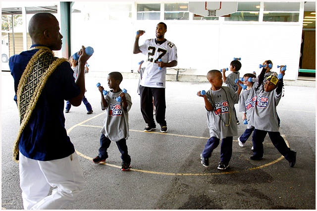 Green Park Elementary, Back to Football Friday Contest,  NFL Play 60, New Orleans Saints players, Malcom Jenkins #27, Leigh Torrence #24,Tracy Porter #22, Jerom Bushrod #74 and Thomas Morstead #6