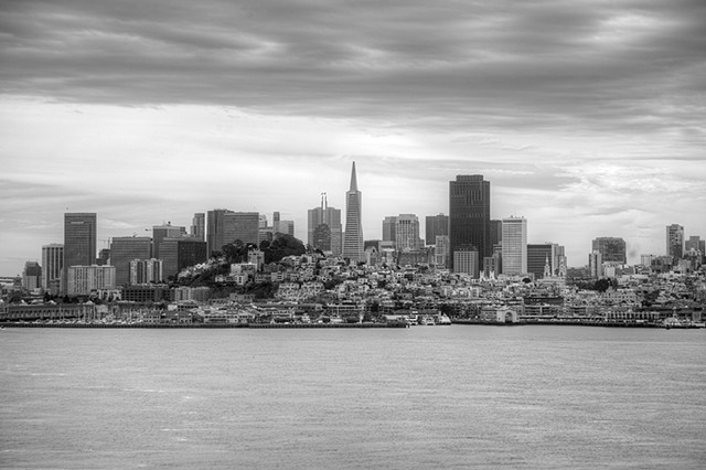San Francisco, San Francisco Skyline, Alcatraz, San Francisco Bay, Matted Photo, skyline