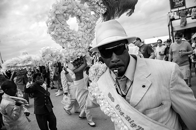 Original Big Nine Social Aide and Pleasure Club second line at Jazz Fest, New Orleans, Louisiana.