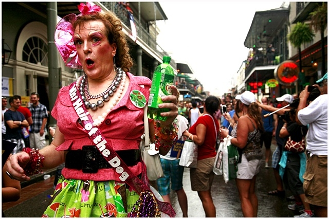 Miss Hair of the Dog, makes her way down Bourbon Street during Southern Decadence. Tropical Storm Lee caused the cancellation of numerous events for Labor Day weekend through out New Orleans and Louisiana. Despite the rain the Southern Decadence parade we