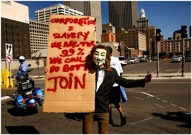 Hundreds of protestors gathered at Duncan Plaza to march in New Orleans in support of, and in conjunction with, the Occupy Wall St. movement which started in New York. The march made its way through the French Quarter ending outside of the Federal Reserve