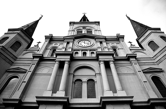 Black and white photo print, art for sale, st Louis cathedral, Jackson square, New Orleans Louisiana