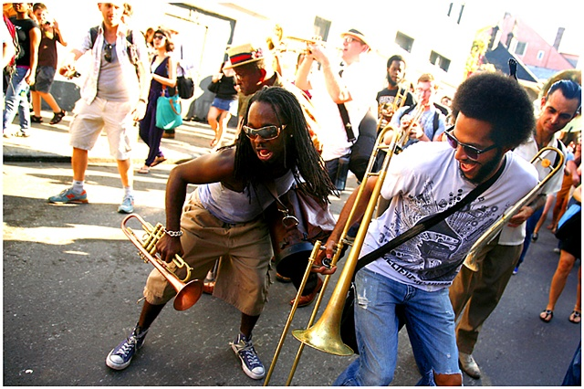 A Lindy Hop second line made it's way through the French Quarter kicking off the festivities for the 10th Lindy Hop Showdown which featured events all weekend through out the city.