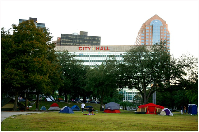 Duncan Plaza has become home to dozens of Occupy protestors who are camping in the park located across the street from New Orleans City Hall.  The protest is in conjunction with the Occupy Wall St. movement which started in New York. Fellow supporters and