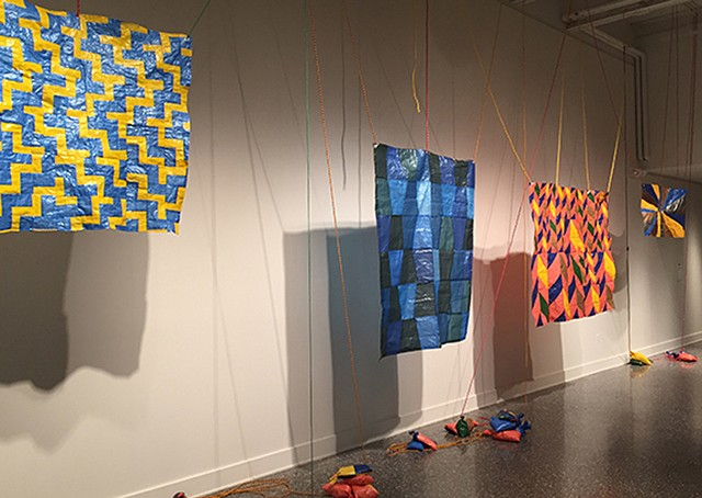 Tarp Quilts installed 2018. The The Samuel Dorsky Museum of Art.