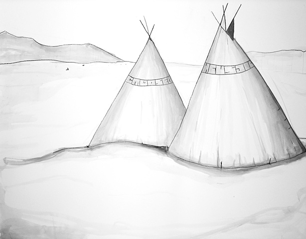 teepee [tipi] ink drawing by Michael Bernstein