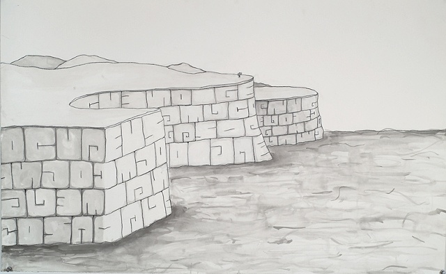 cliffs ink drawing by Michael Bernstein