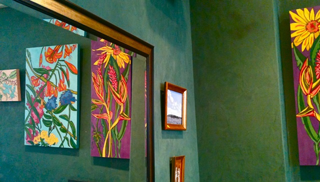 Saints cafe, state college, maggie wolszczan, art margaux, oil painitngs, florals, sunflowers, state college