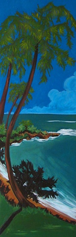 Oil painting of shaded Carribean shore by Maggie Wolszczan