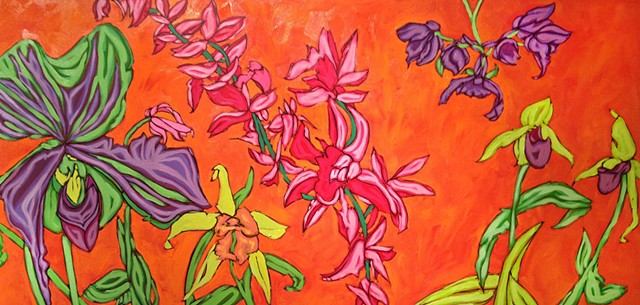 art margaux, maggie wolszczan art, art, paintings, florals, orchids, fraser st. gallery