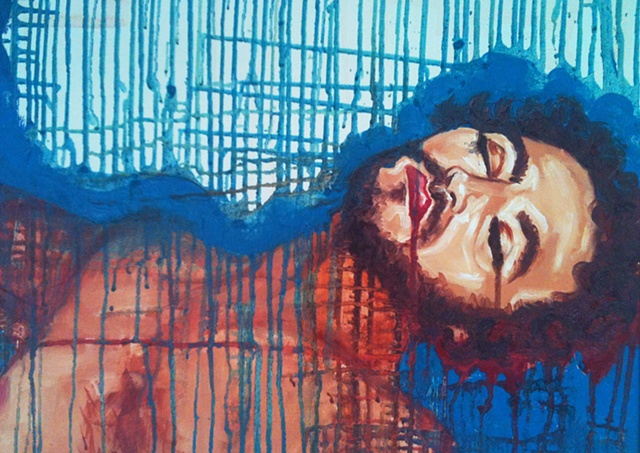Oil painting of sleeping dripping man by Maggie Wolszczan