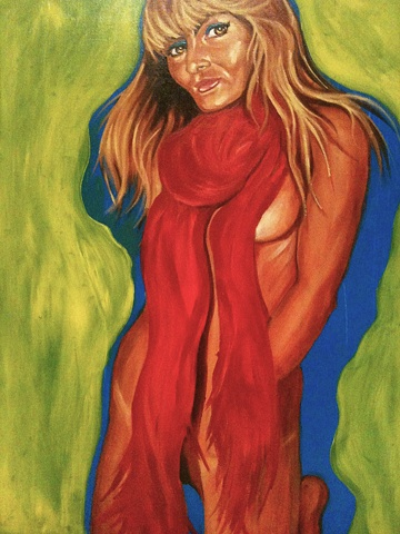 Oil painting of blond goddess in red shawl by Maggie Wolszczan, art margaux