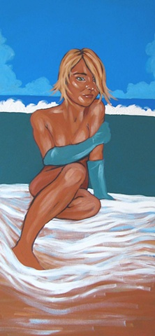 Oil painting of sea nymph lounging on sand by Maggie Wolszczan