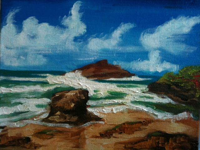 Oil painting of camuy beach in Isabella Puerto Rico by Maggie Wolszczan