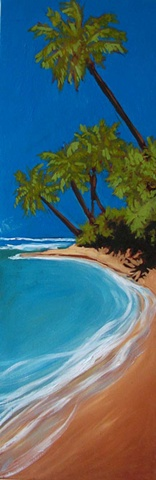 Oil painting of Carribean beach by Maggie Wolszczan