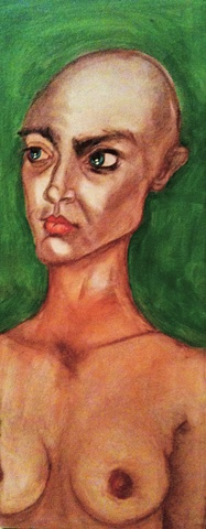 Acrylic and charcoal painting of bald girl by Maggie Wolszczan