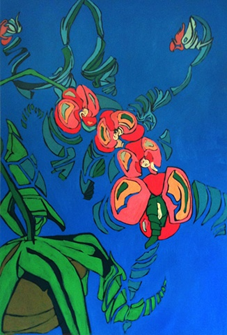 Oil & acrylic  painting of orchid by Maggie Wolszczan